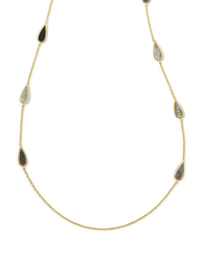 18k Polished Rock Candy® Pear Station Necklace, 37