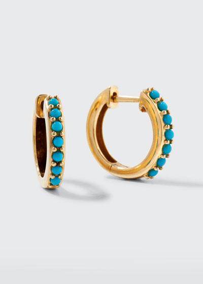 14k Small Prong Turquoise Huggie Hoop Earrings
