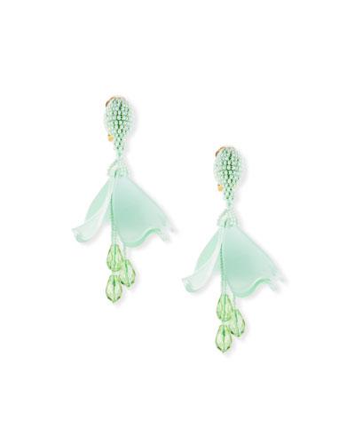 Small Impatiens Flower Clip-On Drop Earrings, Green
