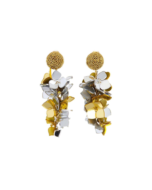 Falling Flower Cluster Clip Earrings