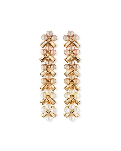 Pearly Baguette Drop Earrings