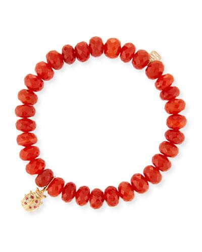 Carnelian Bead & 14k Ladybug Charm Bracelet