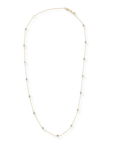 14kGold  Mini Multi-Evil Eye Necklace