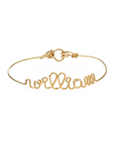 Personalized 10-Letter Wire Bracelet, Yellow Gold Fill