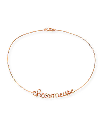 Personalized 12-Letter Wire Necklace, Rose Gold Fill