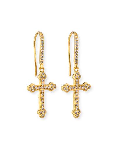 Micro Crucifix Earrings, Golden