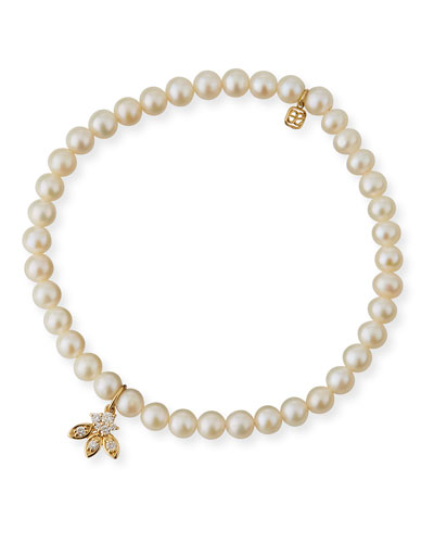 14k Pearl & Diamond Flower Bracelet