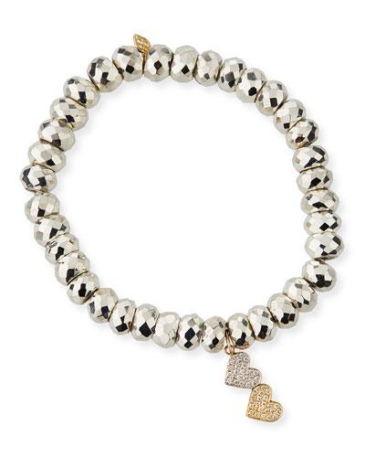 14k Gold Two-Tone Diamond Heart Bracelet