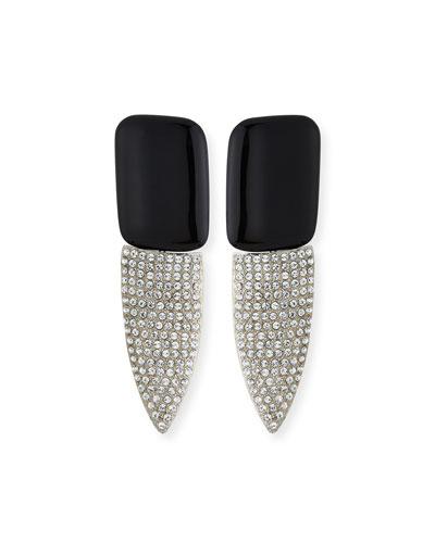 Smoking Resin & Crystal Earrings