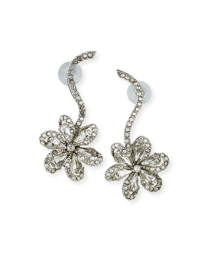 75bd54aa0 Crystal Delicate Flower Drop Earrings Quick Look. Oscar de la Renta