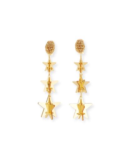 Falling Stars Clip-On Drop Earrings