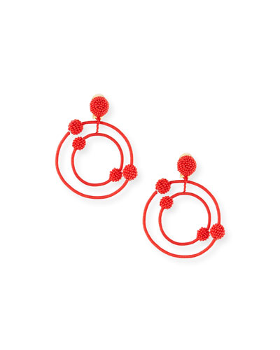 Beaded Orbits Clip-On Hoop Drop Earrings