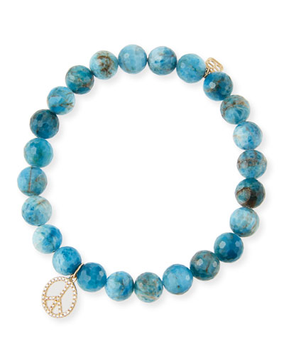 14k Apatite & Diamond Peace Sign Bracelet