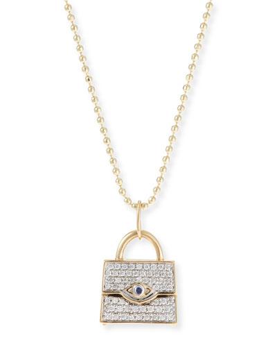 14k Handbag Pendant Necklace w/ Diamonds