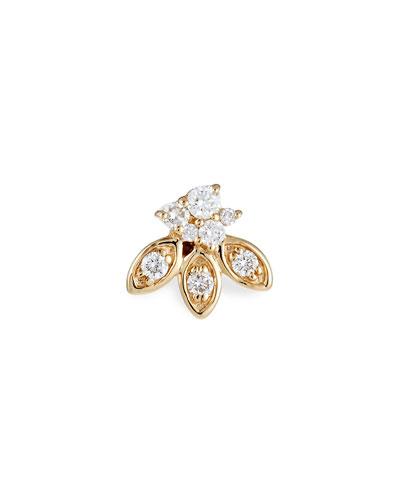 Single 14k Gold Diamond Petal Stud Earring