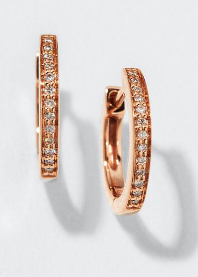 14k Rose Gold Diamond Small Huggie Hoop Earrings