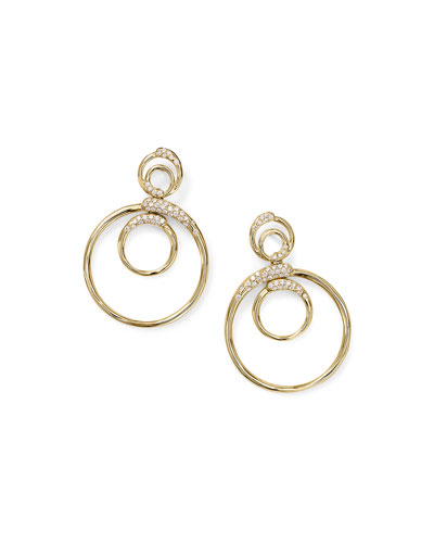 18k Gold Stardust Triple Circle Snowman Earrings w/ Diamonds