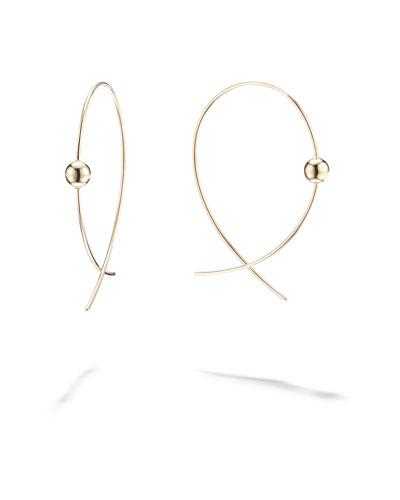 14k Gold Small Bead Upside-Down Hoop Earrings