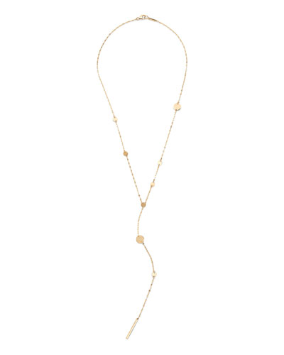 14k Gold Cleo Disc Y-Drop Lariat Necklace