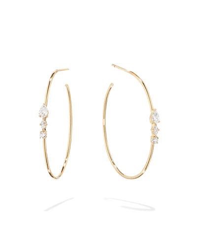 Magic 14k Gold Diamond Cluster Hoop Earrings