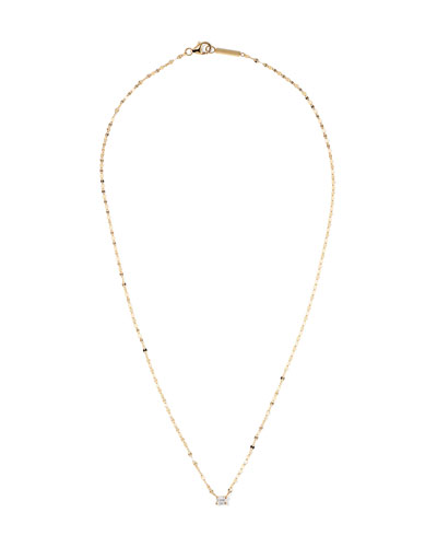 14k Gold Emerald-Cut Diamond Pendant Necklace