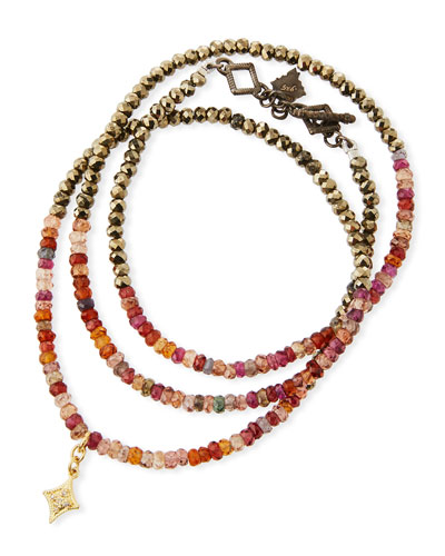 Old World Triple-Wrap Pyrite & Sapphire Bead Bracelet
