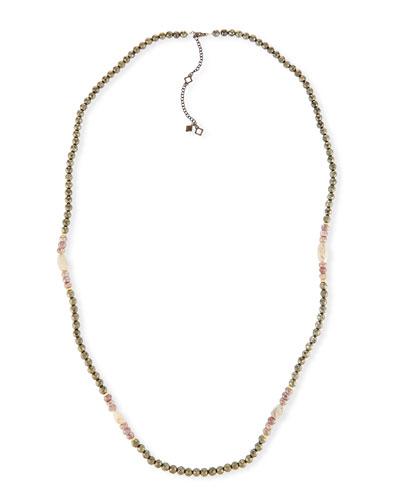 Old World Pyrite, Corundum & Opal Necklace - 40
