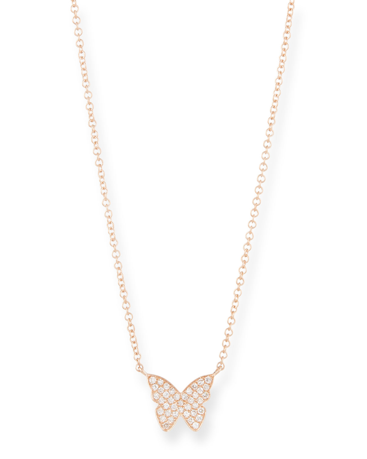 EF COLLECTION 14K ROSE GOLD DIAMOND BUTTERFLY NECKLACE