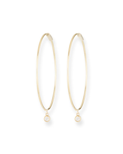 The Perfect 14k Gold Hoop Earrings w/ Diamond Bezel