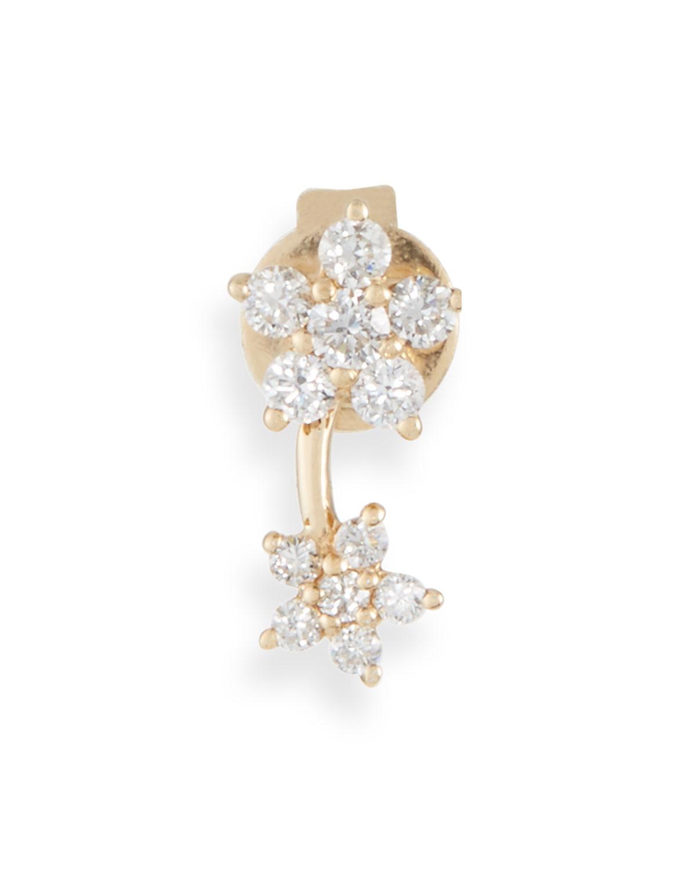 EF COLLECTION 14K DIAMOND FLOWER STUD EARRING (SINGLE)