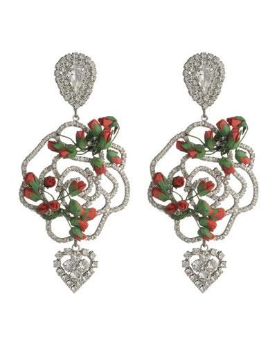 Amaryllis Rose & Crystal Earrings