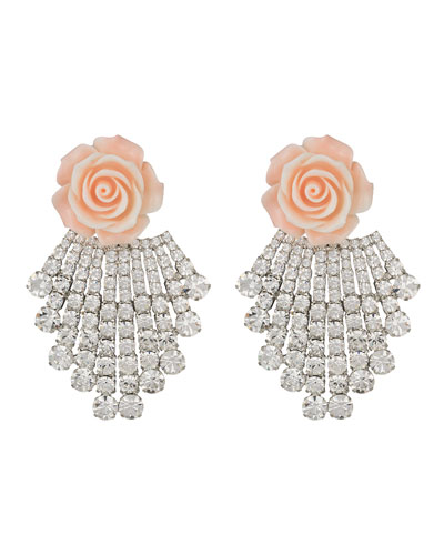 Dannijo Rose & Crystal Clip-On Earrings