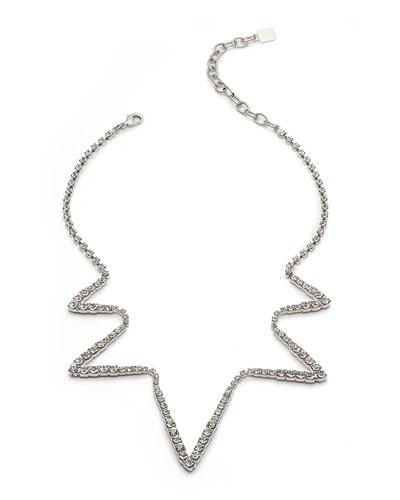Lotus Crystal Zigzag Necklace