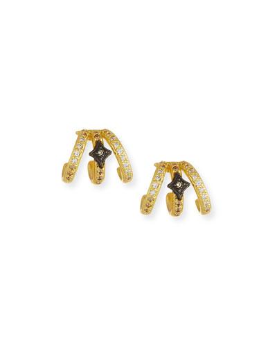 Old World Triple-Huggie Diamond Earrings