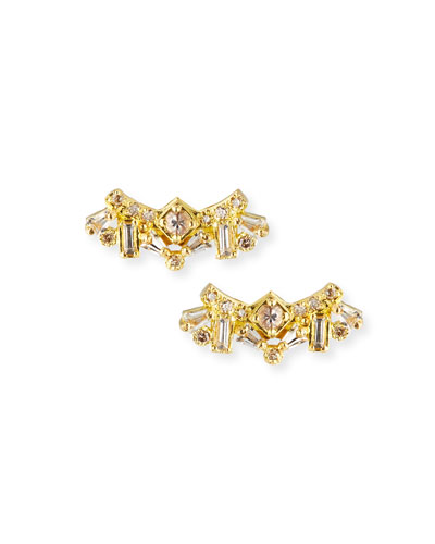 Sueno 18k Diamond & Sapphire Cluster Stud Earrings