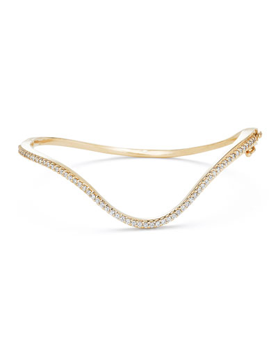 18k Gold Infinity Curved Diamond Hinge Bracelet