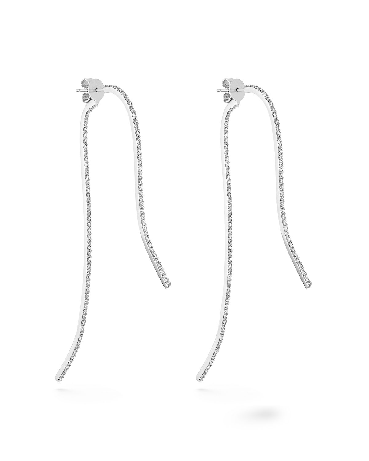 PAIGE NOVICK Infinity Sculptural 18K White Gold & Diamond Pave 2-Part Earrings in White/Gold