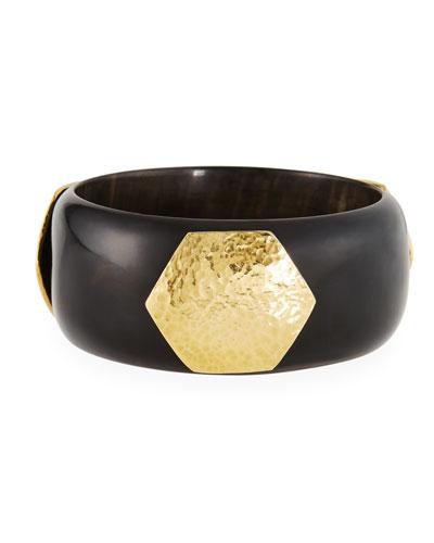 Dark Horn Bangle Bracelet w/ Hammered Logo Plate