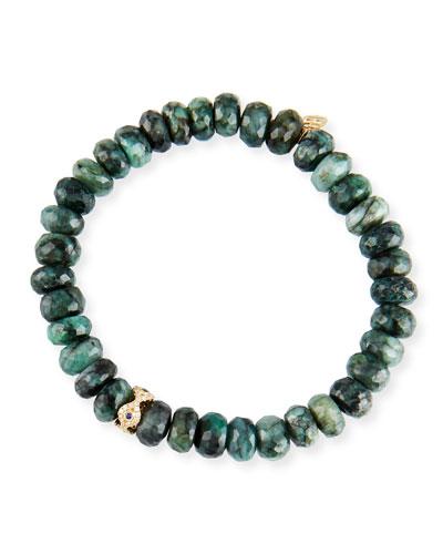 Emerald, Diamond & Sapphire Evil Eye Bracelet