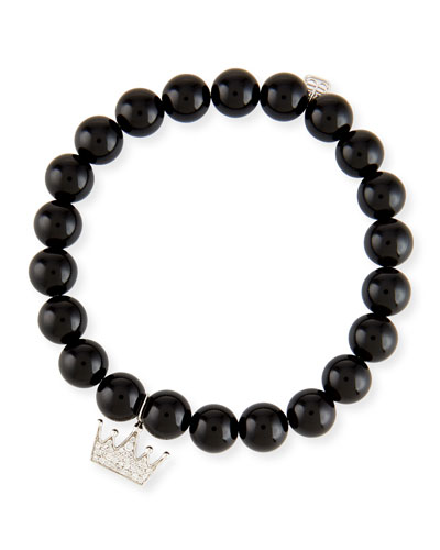 Black Onyx & Diamond Crown Bracelet