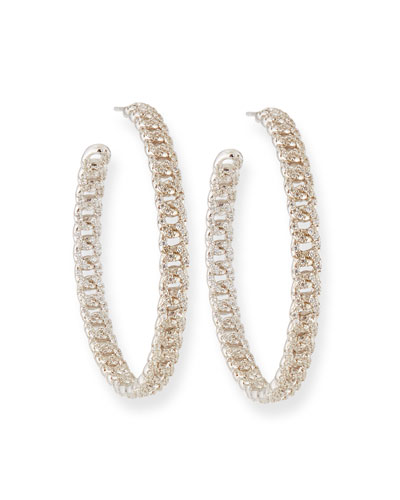 Pave Curb Chain Hoop Earrings
