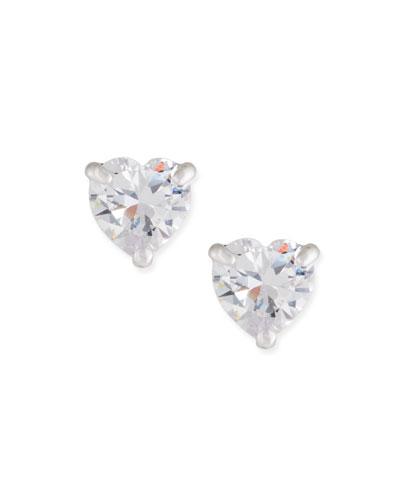 Solitaire Heart Stud Earrings