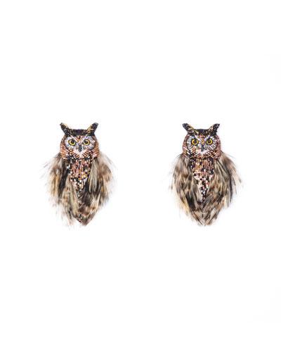 Mignonne Gavigan Owl Bead & Feather Earrings