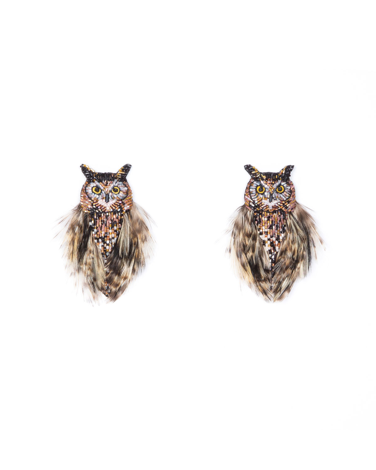 Mignonne Gavigan OWL BEAD & FEATHER EARRINGS