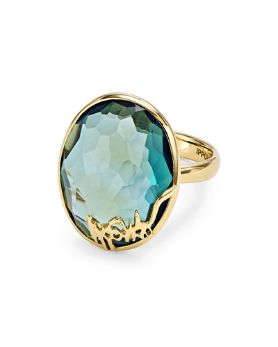 18k Gold Rock Candy Oval Stone Ring, Blue Topaz
