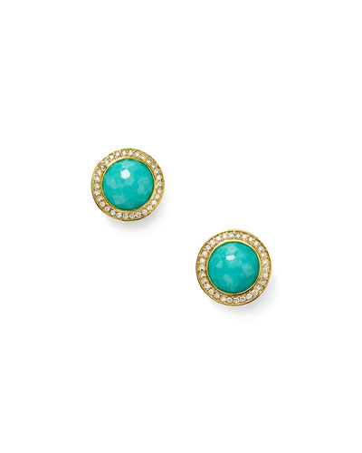 Lollipop 18k Gold Turquoise & Diamond Earrings