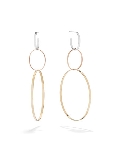 14k Tricolor Gold 3-Link Hoop Earrings