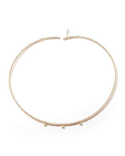 14k Gold Pearl & Diamond Choker Necklace