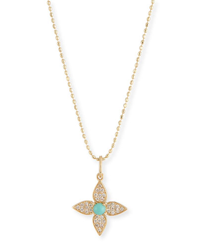 14k Diamond & Turquoise Paisley Flower Necklace