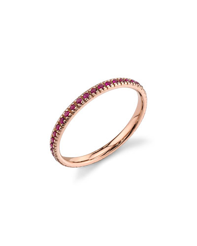 14k Rose Gold Band Ring with Rubies